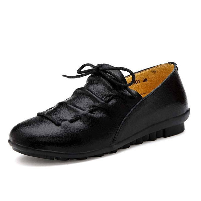 Corachic.com - Lace-up Pleated Genuine Leather Flats Shoes Woman Rubber Party Shoes
