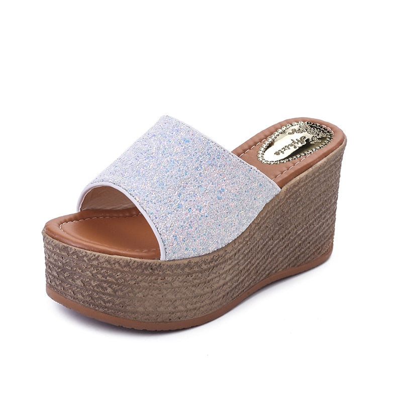 Women Wedge Sandals Slippers High Heels Clog Flip Flop Sandals