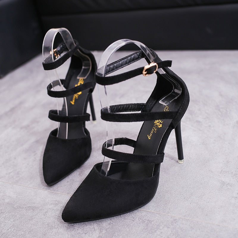 Pointed High-Heeled Sandal Shoes With Shallow Mouth Buckle Suede Straps Shoes