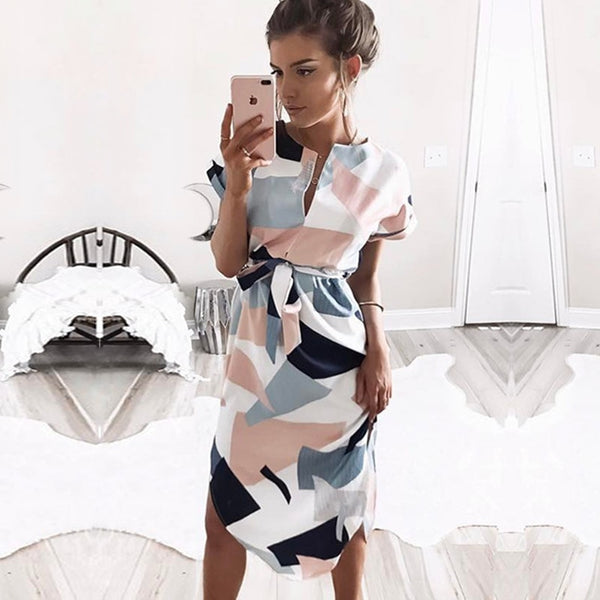 Women Beach Boho Print Batwing Short Sleeve Dress Tunic Bandage Bodycon Midi Dress