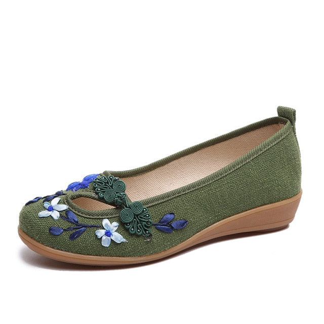 3D Flowers Women Linen Slip On Ballet Flats Breathable Fabric Shoes