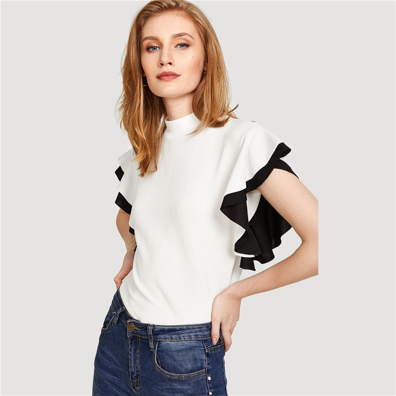 Women White Ruffle Sleeve Stand Collar Elegant Blouse Tops
