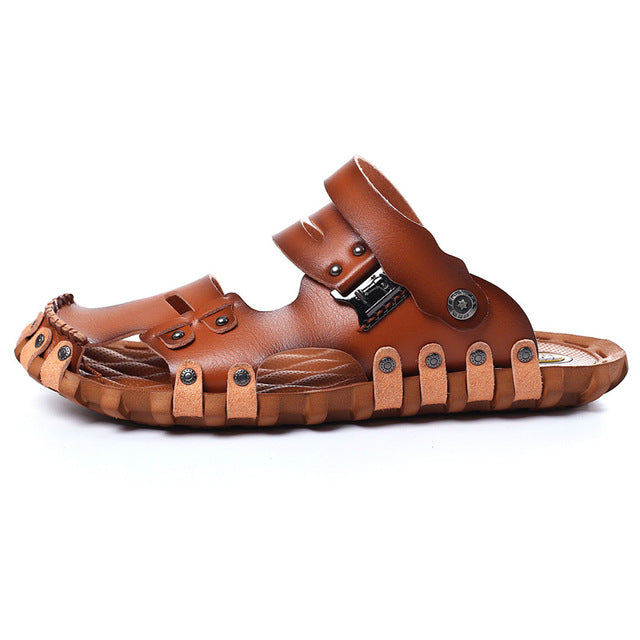 Men's Roman Casual PU Leather Sandals Retro Beach Slipper Summer Shoes
