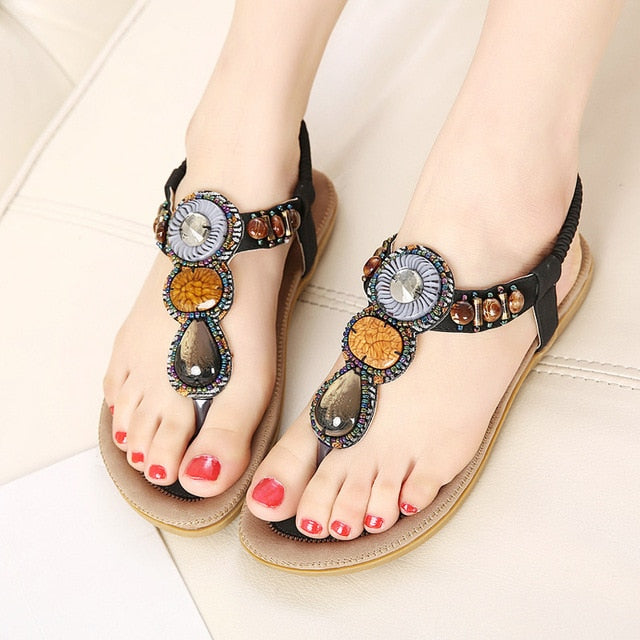 Women Hot Open Toe Flat Summer Sandals String Bead Ethnic Sandals