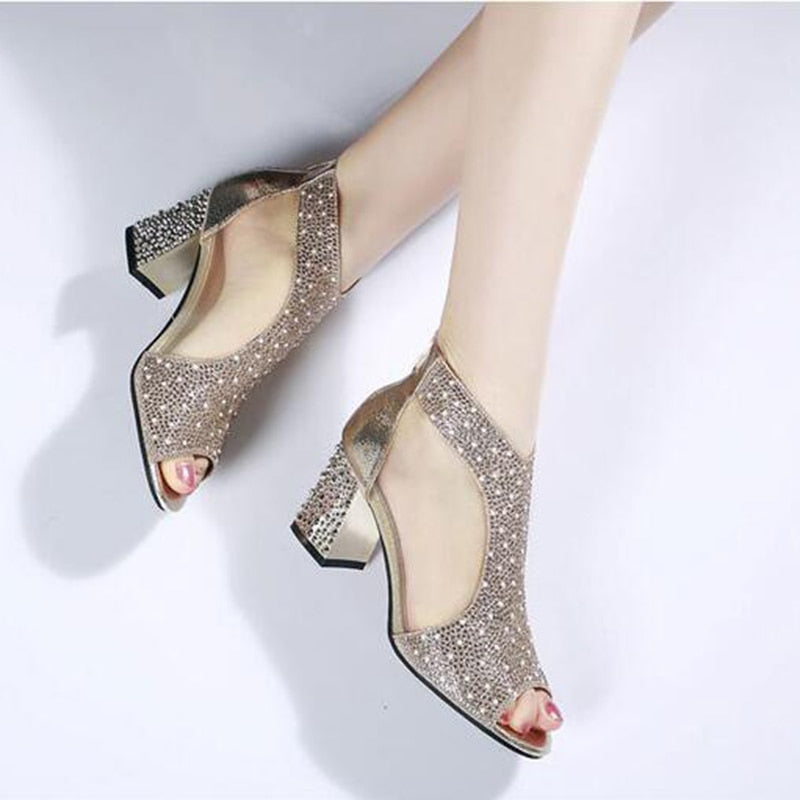 Women Bling 7cm High Heels Diamond Square Heel Sandals