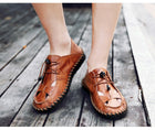Men's Cow Genuine Leather Breathable Sandals Lightweight Soft Beach Sandal Shoes