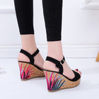 Women Graffiti Wedge Sandals PU Leather High Heels Suede Sandals Shoes