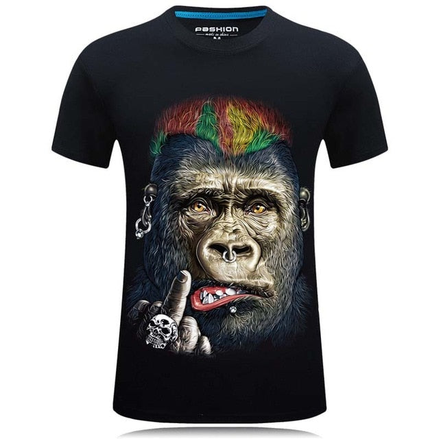 Men's 3D Printed T-shirt Novelty Design Animal Tops Short Sleeve O-neck Tops Tee