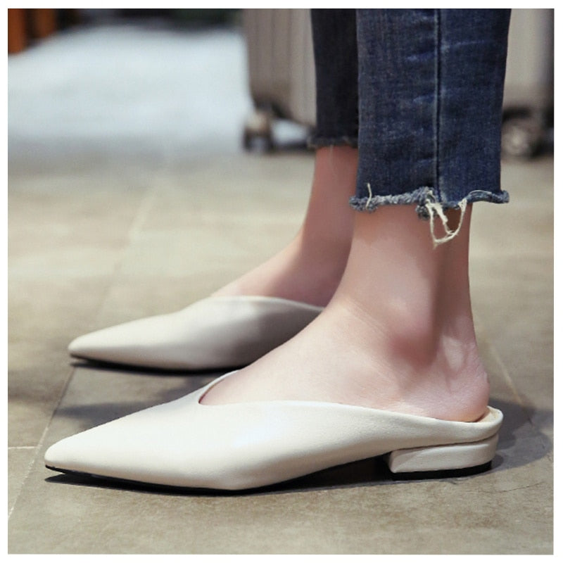 Women PU Leather Pointed Toe Slip On Flip Flops Sandals