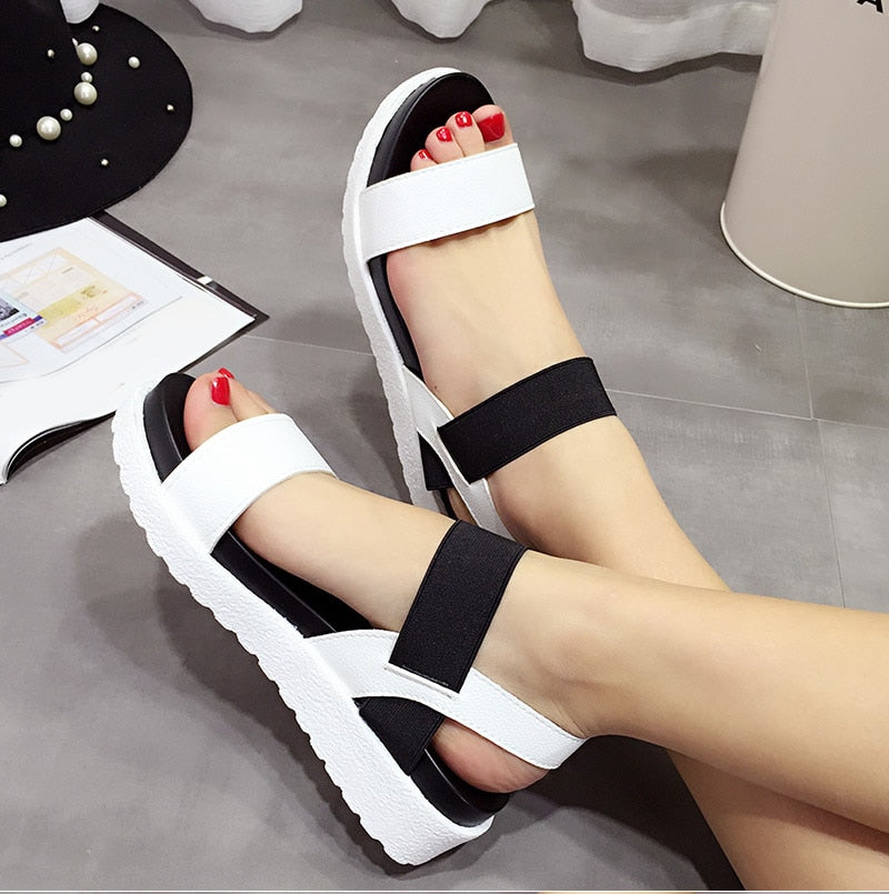 Women Slip On Elastic Band Peep Toe Sandals Platform Flat Roman Comfortable Sandals