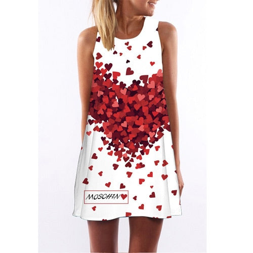 Corachic.com - Women Rose Print Sleeveless Summer Dress O-Neck Casual Loose Mini Chiffon Dresses - Dresses