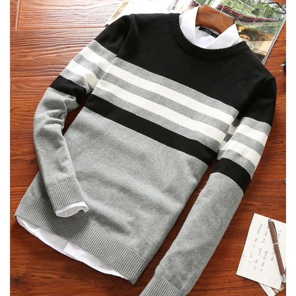 Men Casual Pullover Round Neck Patchwork Knitted Sweaters Top