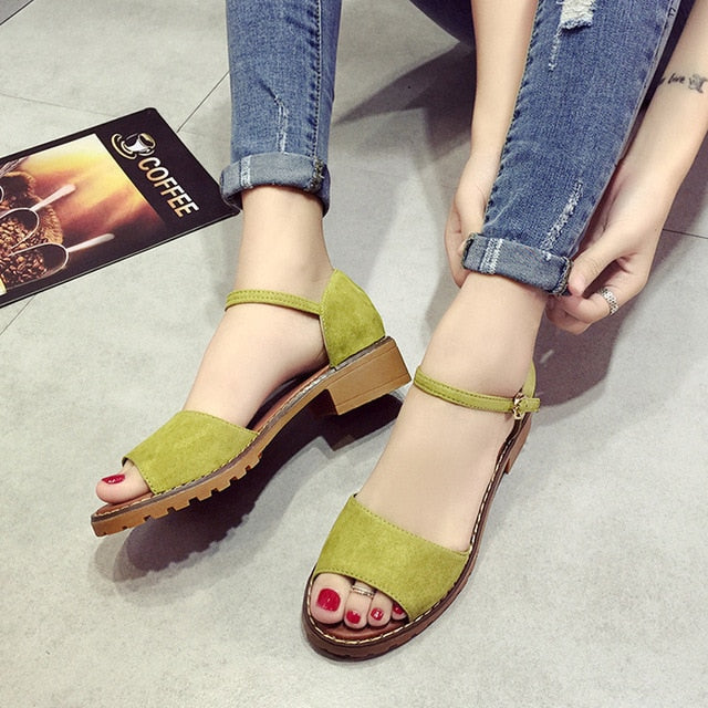 Fish Mouth Women PU Suede Retro High Heels Square Heel Buckle Sandals