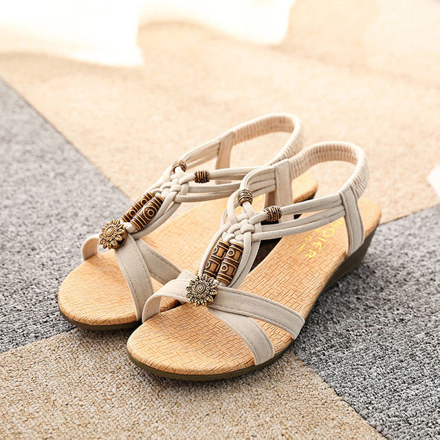 Women Comfort Summer Sandals Retro Flip Flops Wedge Sandals