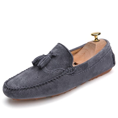Men's Loafers Pig Suede Flats Genuine Leather Moccasins Casual Shoes