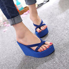 Women High Heel Wedges Sandals Platform Beach Flip Flops Slippers Solid Slides