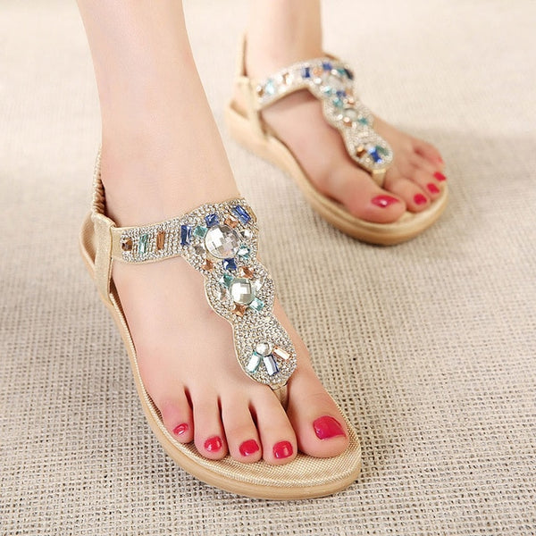 Women Comfort Flat Sandals Rhinestone Summer Beach Sandals