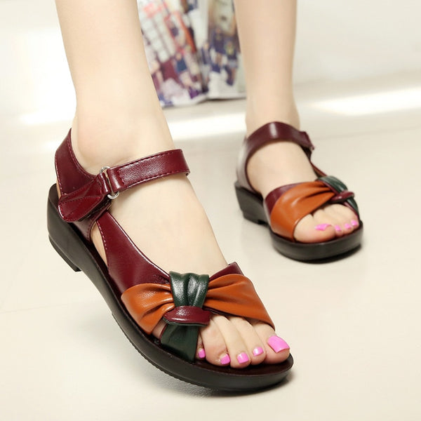Women Summer Genuine Leather Flat Sandals Hook Loop Sandals Beach Shoes