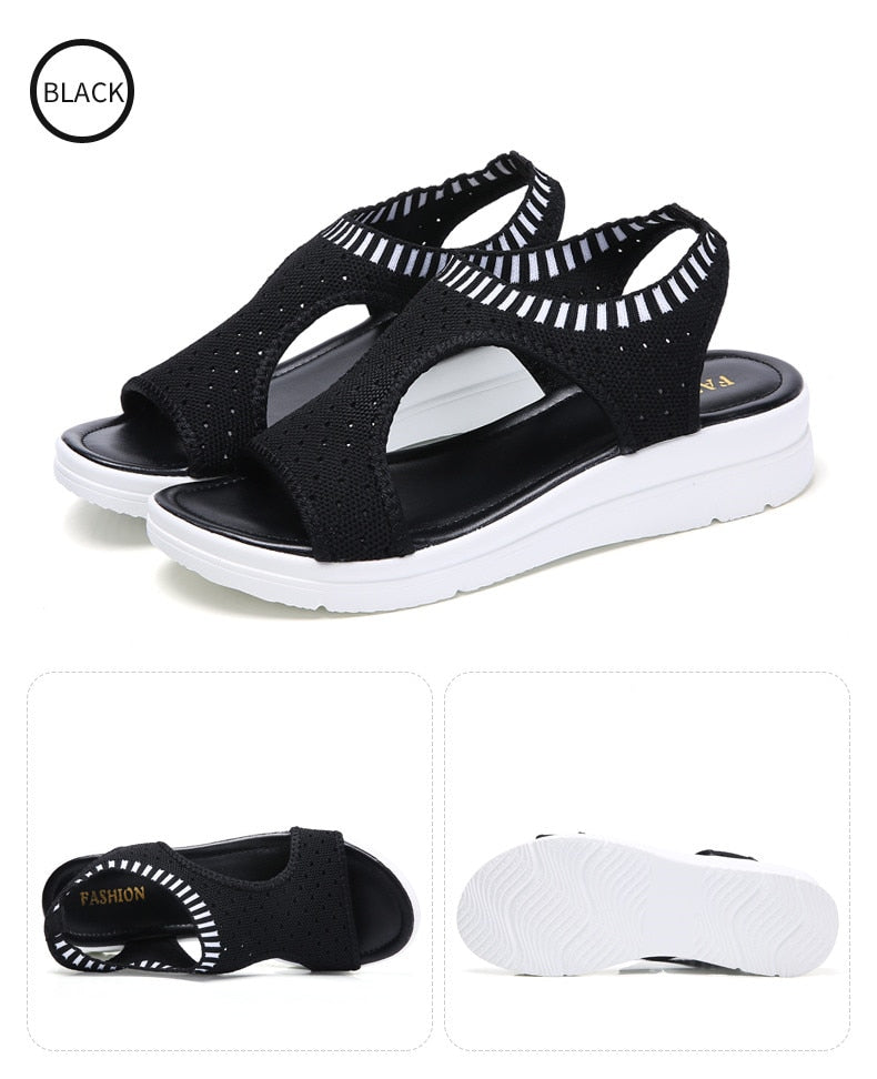 Corachic.com - Women Wedge Comfortable Sandals Slip-on Flat Sandals Shoes - Women's Sandals