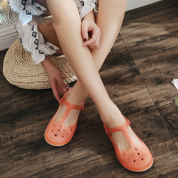 Summer Women Mules Clogs Beach Breathable Sweet Slippers Sandals Jelly Shoes