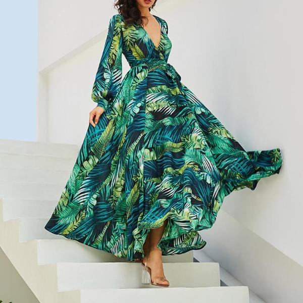 Corachic.com - Vintacy Long Sleeve Dress Green Tropical Beach Vintage Maxi Dresses Boho Casual V Neck
