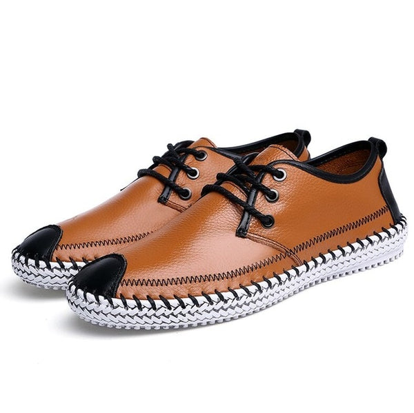 Men Breathable Comfortable Split Leather Men Loafers Flats Casual Shoes