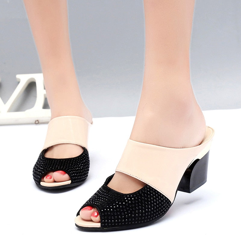 Woman Flip Flops Middle Heel Summer Party Date Sandals