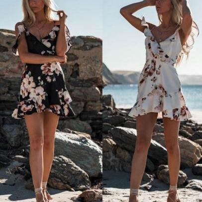 Corachic.com - Sleeveless V-Neck Spaghetti Strap Beach Floral Ruffle Tank Mini Casual Dress - Dresses