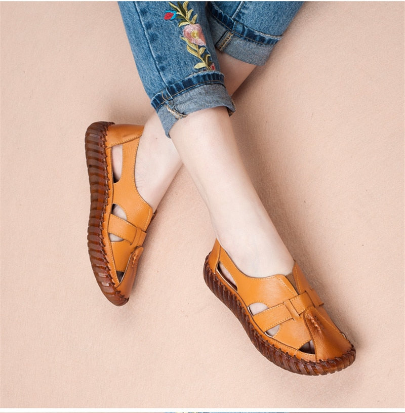 Women Genuine Leather Handmade Sandals Retro Style Mother Flats Shoes