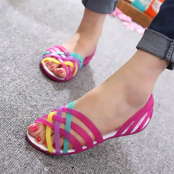 Corachic.com - Women Summer Sandals Flat Slip On Candy Color Peep Toe Beach Shoes - Women's Sandals