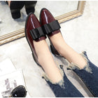 Corachic.com - Women Bowtie Loafers Patent Leather Elegant Low Heels Slip On Flats Shoes