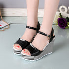 Women's Platform Wedges Sandals 10cm High Heel Gingham PVC Sandals Shoes