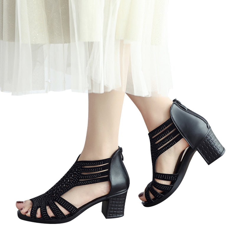 Corachic.com - Women Crystal Hollow Out Peep Toe Wedges Sandals High Heeled Shoes