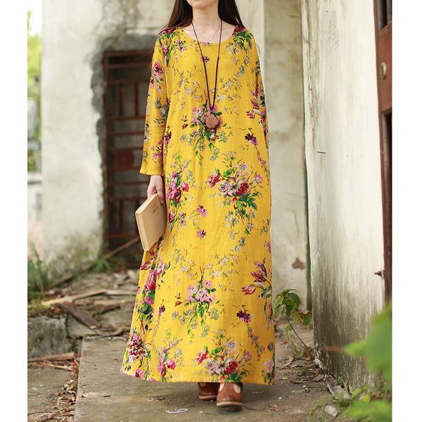 Vintage Maxi Floral Dress Plus Size Long Sleeves Pockets O Neck Cotton Linen Loose Dresses
