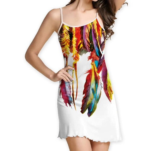 Summer Women Feather Print Strapless Mini Sexy Dress Casual Beach Dresses