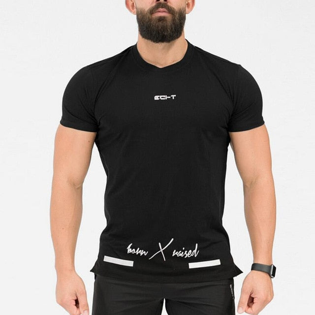 Mens Short sleeve Cotton T-shirt Gyms Fitness Workout t shirt Male Casual Print O-Neck Slim Tees