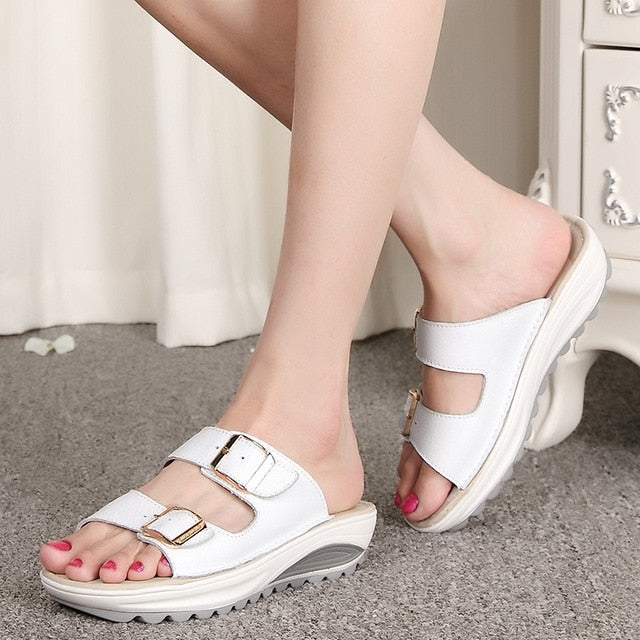 Summer Women Slip On Sandals Slides Wedges Slippers Shoes Buckle Strap Platform Beach Shoes