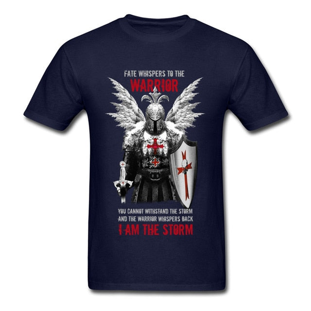 Vintage Design Men's T-shirt Knights Templar Warrior Print Manly Cotton Tops Tee