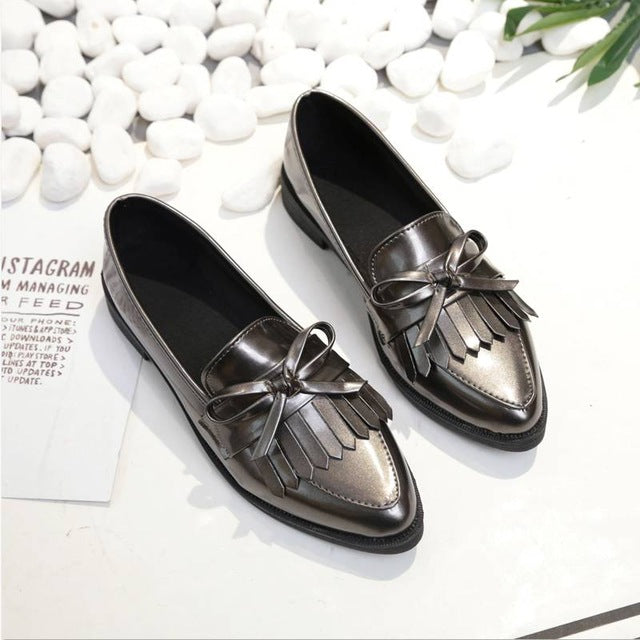 Corachic.com - Woman Casual Tassel Bow Pointed Toe Black Oxford Comfortable Slip on Flats