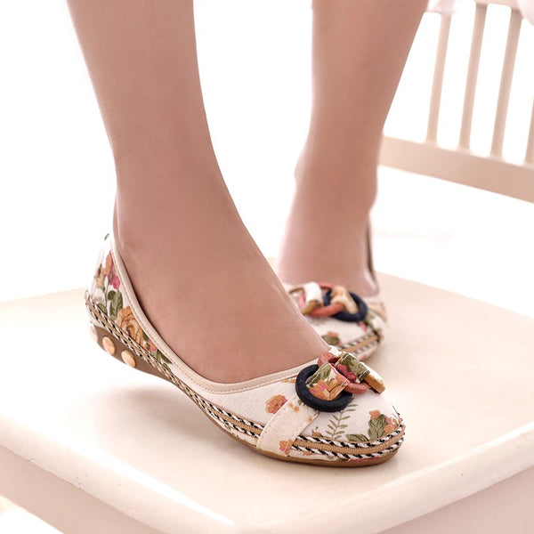 Bohemia Style Print Flats Shoes Plus Size Comfort Leisure Shoes