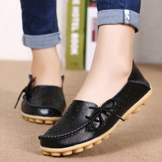 Corachic.com - Women Flats Women Genuine Leather Shoes Slip On Loafers Woman Soft Nurse Ballerina Shoes Plus Size 34-44 Casual Sapato Feminino