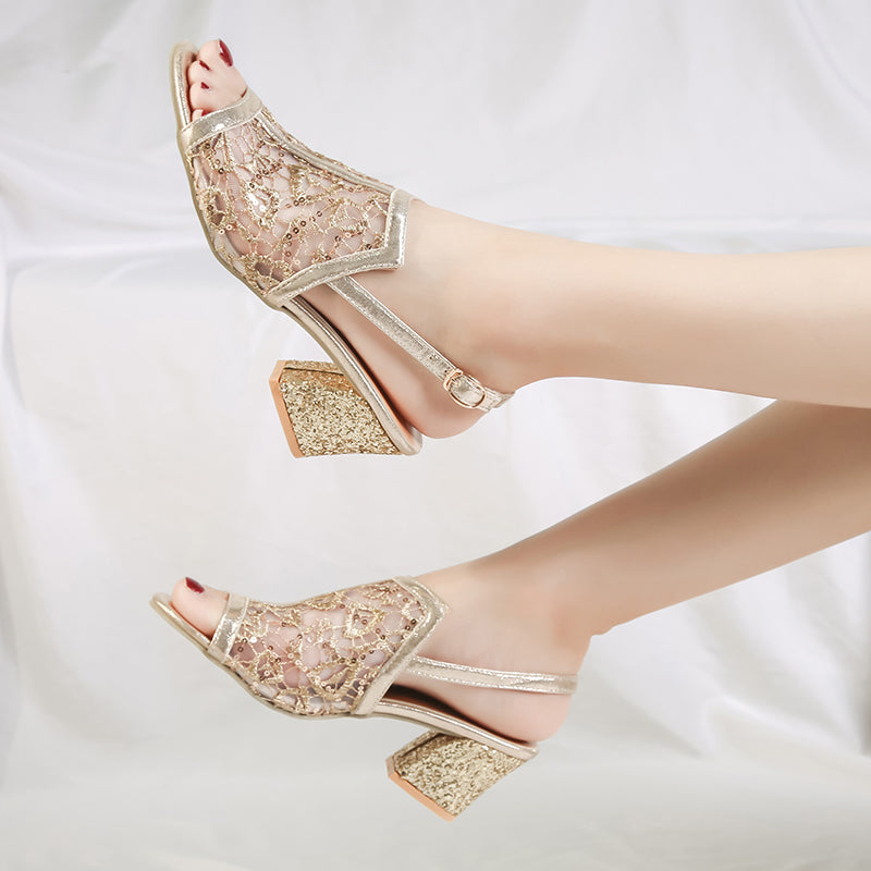Woman Gold Open Toe Sandal Lace Square High Heel Sandals