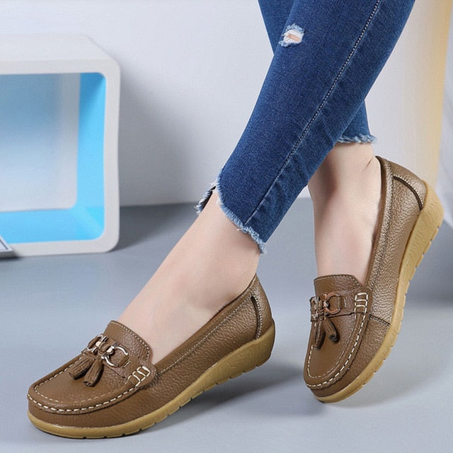 Corachic.com - Women Ballet Shoes Flats Cut Out Leather Breathbale Moccains Women Boat Shoes Ballerina Ladies Shoes - Women's Flats