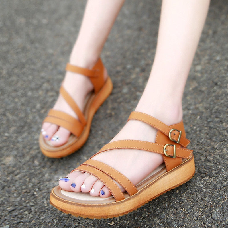 Women Summer Wedges Flat Sandals Rome Platform Genuine Leather Slippers Shoes