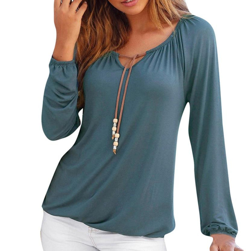 Women Solid Color V Neck Solid Tops Bowknot Long Sleeve Shirt Loose Comfort Blouse