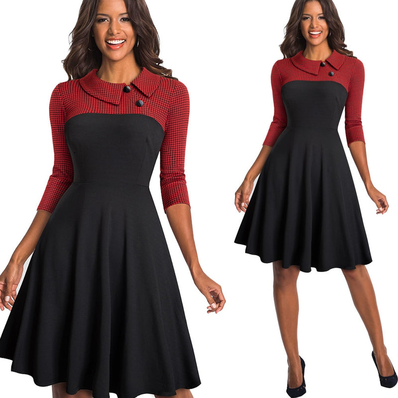 Women Vintage Turn-Down Collar Pinup Button A-Line Party Flare Swing Dress