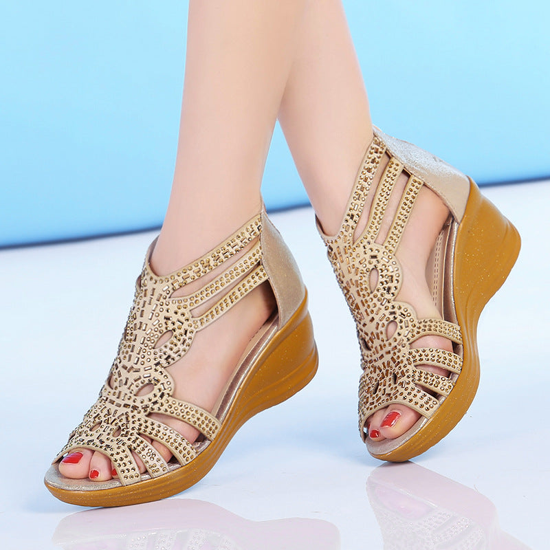 Women Hollow Out Comfortable Wedge Sandals Genuine Leather Peep Toe Shoes