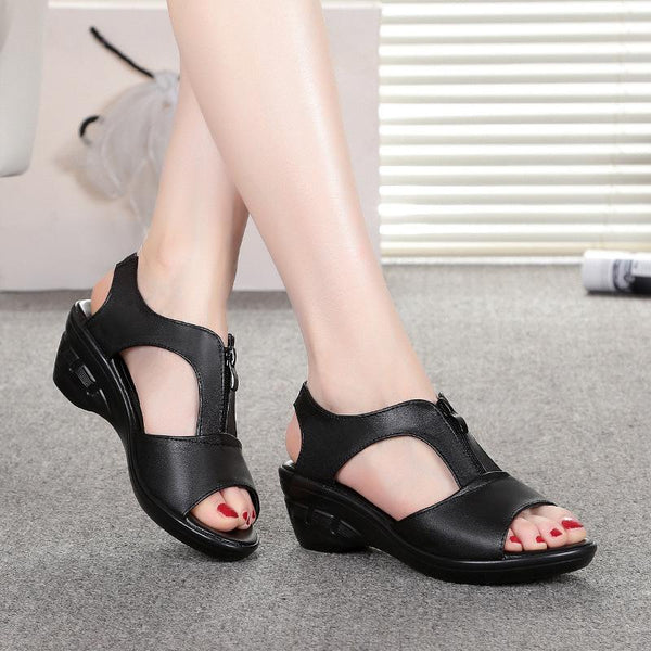 Women Wedge Sandals Shoes Cow Genuine Leather Beach Zipper Sandals
