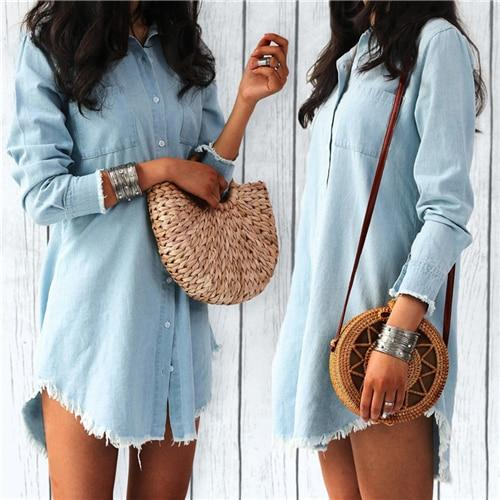 Long Sleeve Denim Shirt Dress Casual Turn-down Collar Tassels Loose Dress