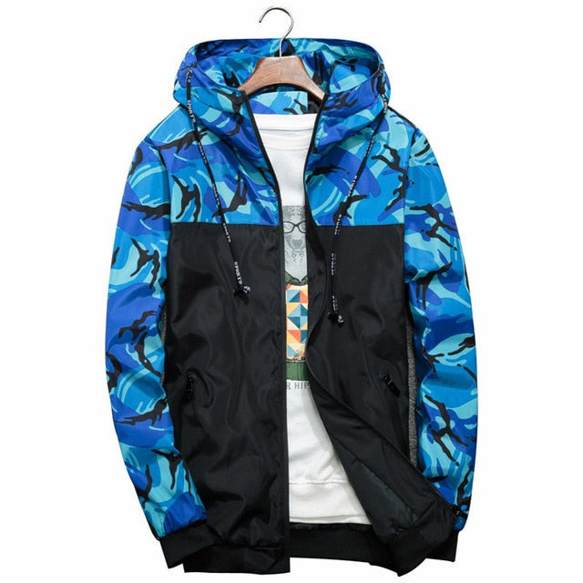 Men's Camouflage Military Casual Zipper Windbreaker Jackets Hooded Coats